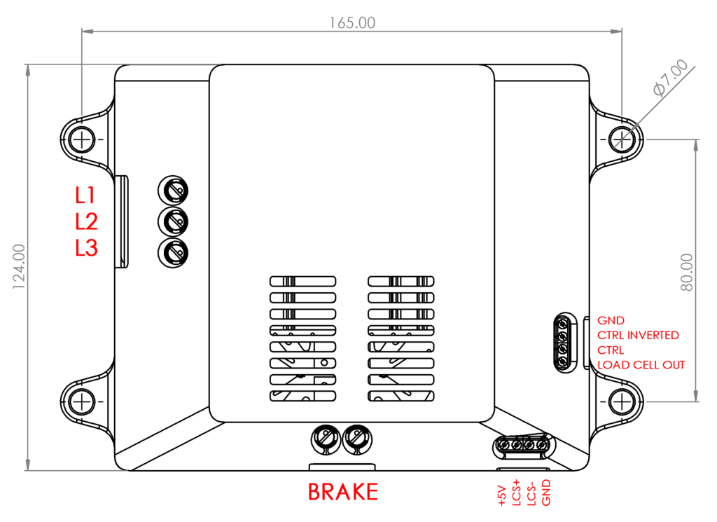 BD1 Eddy current brake power supply technical drawing top