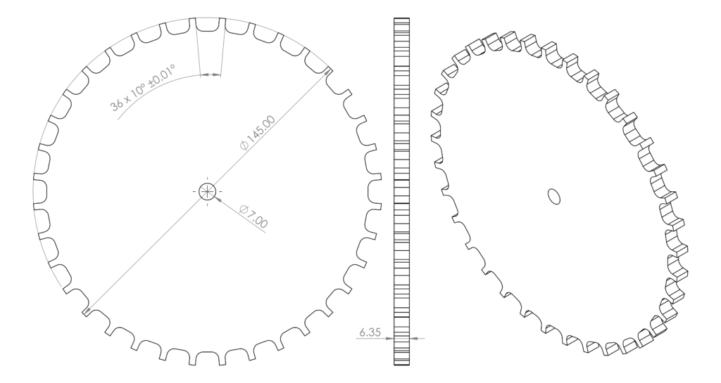 Toothed signal wheel for dynamometer